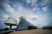The Rock and Roll Hall of Fame and Museum stands on the shore of Lake Erie in downtown Cleveland Ohio US on Saturday April 12 2014 Demand for...