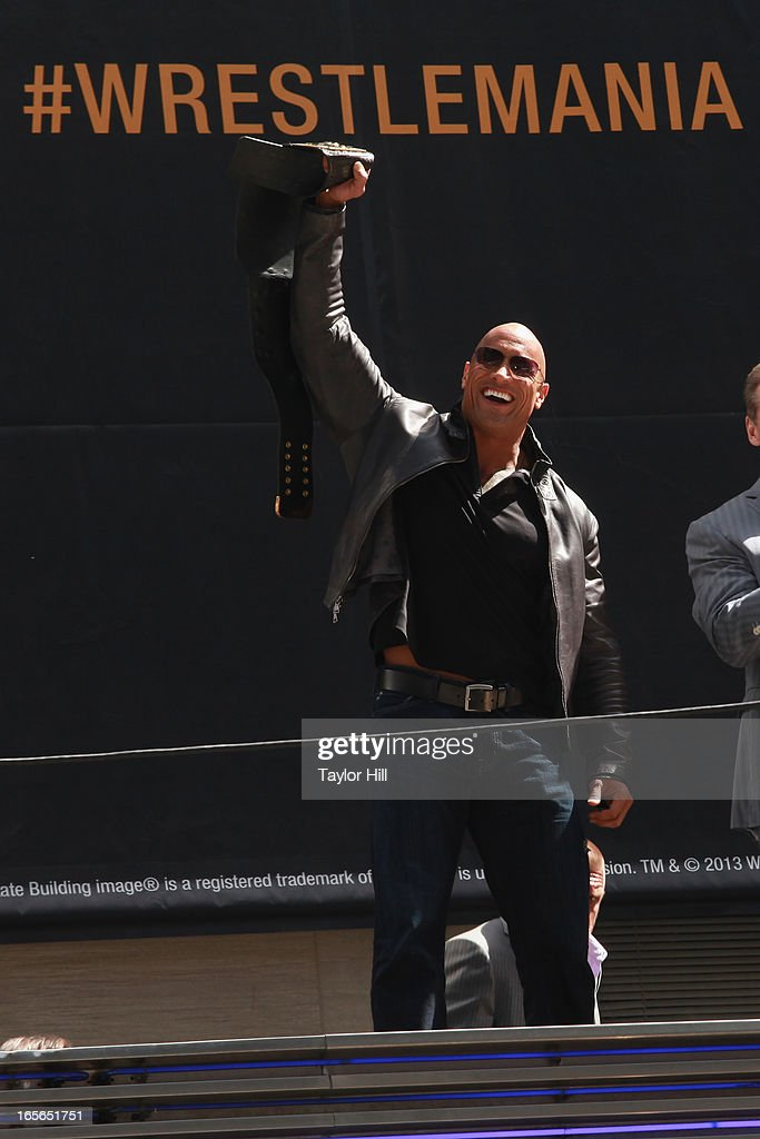 The Rock attends the WrestleMania 29 Press Conference at Radio City Music Hall on April 4, 2013 in New York City.