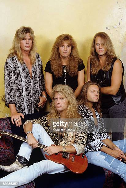 The Rock Band Europe posed in New York 1991 Back John Leven Joey Tempest Ian Haugland Front Kee Marcello Mic Michaeli