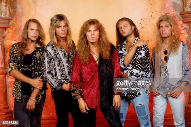The Rock Band Europe posed in New York 1991 Left Right Ian Haugland John Leven Joey Tempest Mic Michaeli Kee Marcello