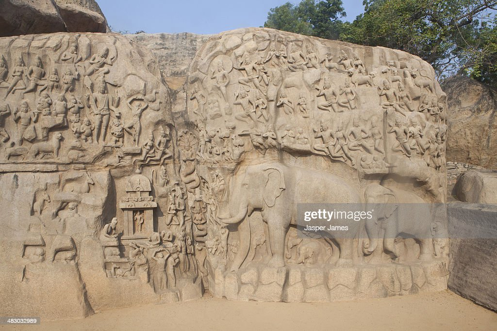 The rock carvings at mahabalipuram stock photo getty images