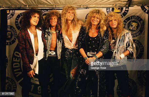 The rock group 'Whitesnake' poses on the red carpet at the 1987 Universal City California MTV Music Awards