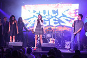 The 'Rock Of Ages' Broadway cast performs live on stage during the 'Rock Of Ages' Broadway cast reunion concert at Highline Ballroom on January 25...