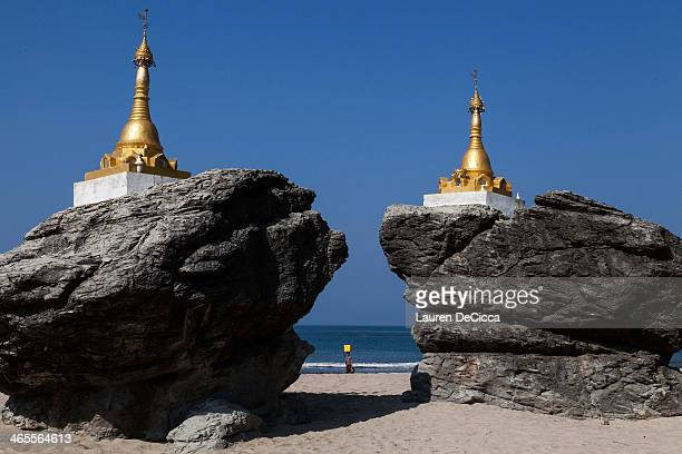 The Rock Pagoda located towards the middle of the 93 mile stretch of beach in Ngwe Saung Burma on January 26 2014 The beach remains empty even during...