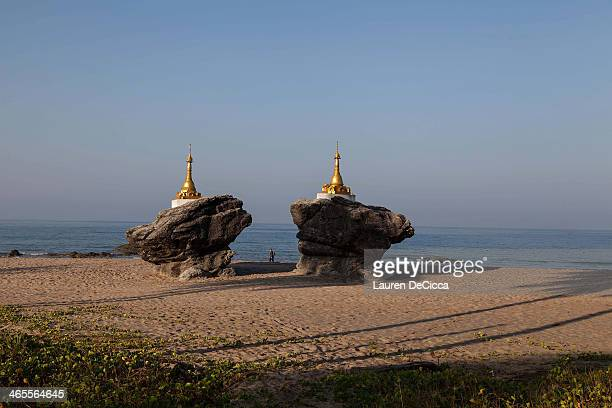 The Rock Pagoda located towards the middle of the 93 mile stretch of beach in Ngwe Saung Burma on January 26 2014 in Yangon Burma Ngwe Saung Beach...