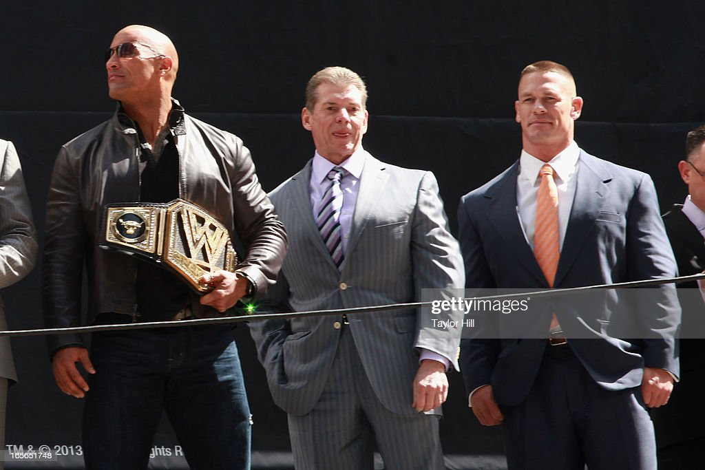 The Rock, Vince McMahon, and John Cena attend the WrestleMania 29 Press Conference at Radio City Music Hall on April 4, 2013 in New York City.