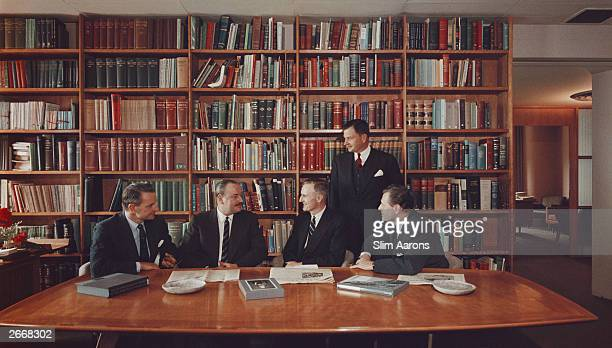 The Rockefeller brothers in their Radio City New York office Left to right Laurance Winthrop John D Rockefeller David and Nelson Original Artwork A...