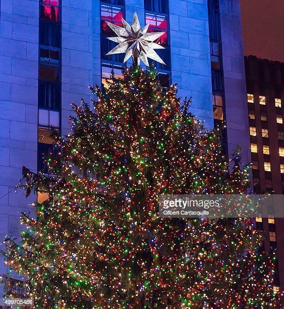 The Rockefeller Center Christmas tree and the Swarovski Star are lit during the 83rd Annual Rockefeller Christmas Tree Lighting Ceremony at...