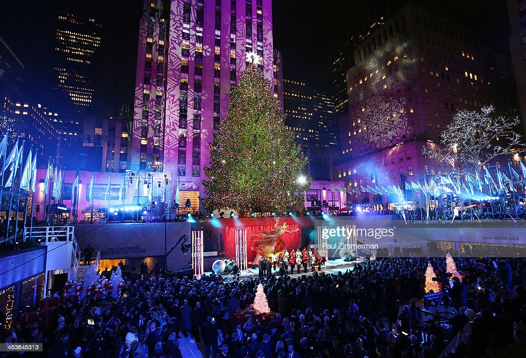 The Rockefeller Center Christmas Tree is lit at the 81st annual Rockefeller Center Christmas Tree Lighting Ceremony on December 4, 2013 in New York City.