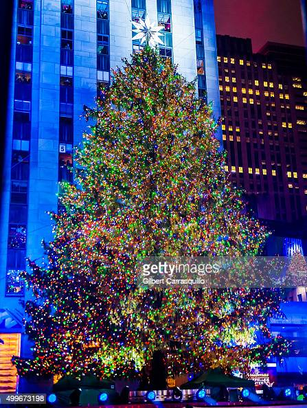 The rockefeller center christmas tree is lit during the 83rd annual