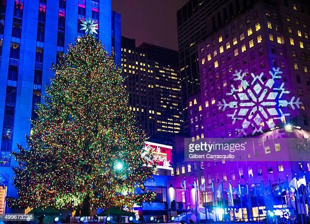 The Rockefeller Center Christmas tree is lit during the 83rd Annual Rockefeller Christmas Tree Lighting Ceremony at Rockefeller Center on December 2...
