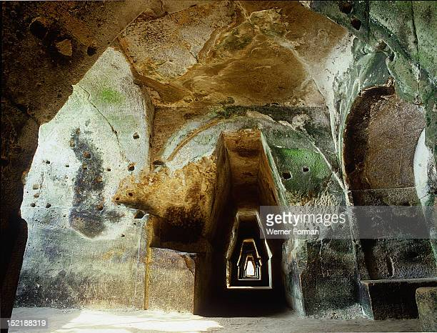 The rockhewn tunnel leading to the cave of the Cumaean Sibyl near Pozzuoli Italy Roman