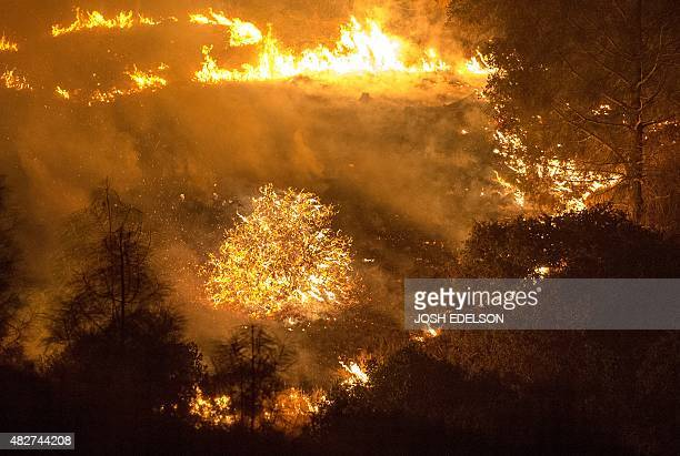 The Rocky fire burns near Clear Lake California on August 2 2015 The fire has charred more than 27000 acres and is currently only 5% contained AFP...