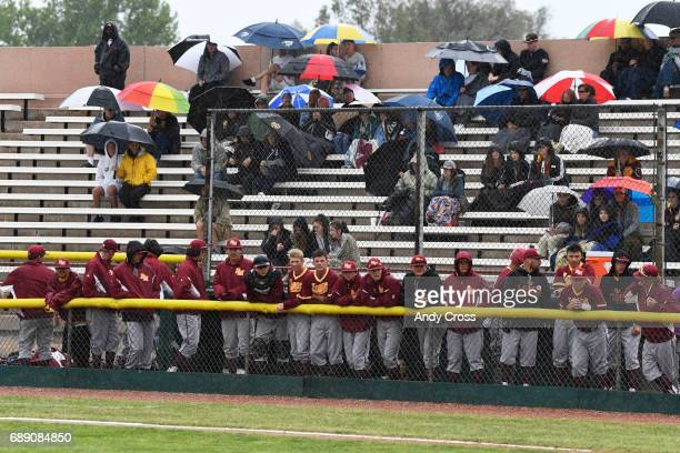 The Rocky Mountain Lobos baseball team in the dugout during the Colorado State 5A championship game against the Broomfield Eagles in the first inning...