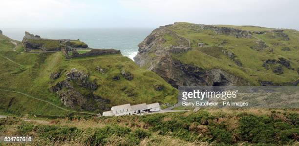 The rocky profile of King Arthur on a cliff face at Castle Island Tintagel Castle Cornwall the ancient home of the 13th Century Earls of Cornwall
