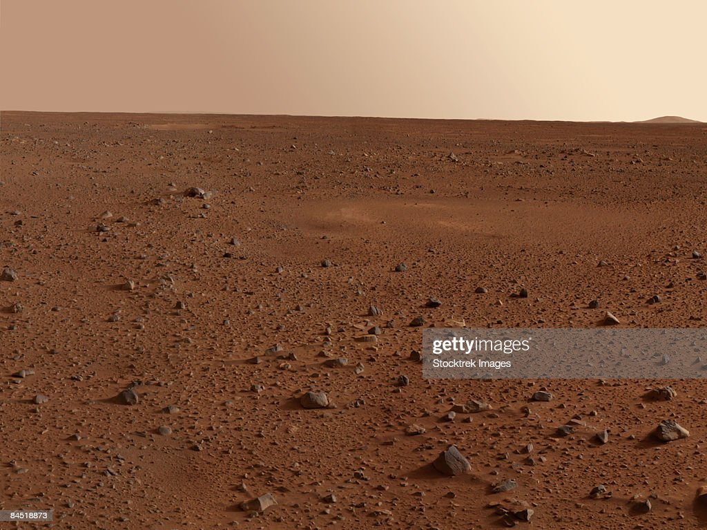The rocky surface of Mars.