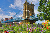 The John A. Roebling Bridge was built in 1866 to connect Covington, Kentucky to Cincinnati , Ohio.  It spans the Ohio River.