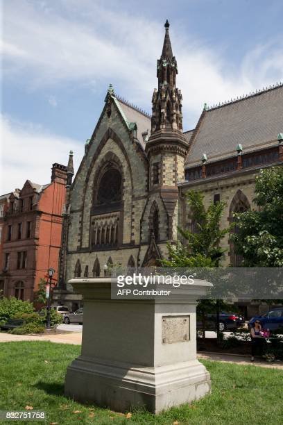 The Roger B Taney monument in Mount Vernon Place is viewed in Baltimore Maryland after it was removed by the city on August 16 2017 Confederate...