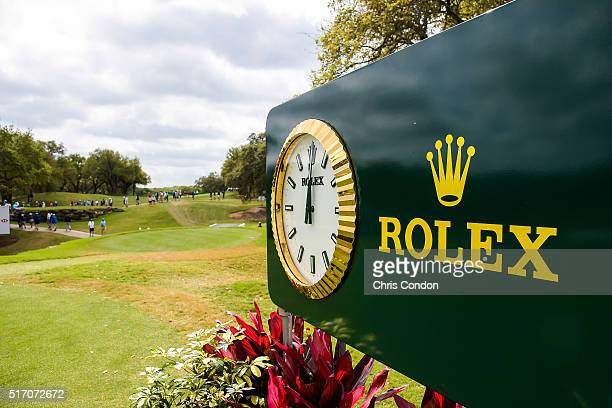 The Rolex clock is displayed on the first hole tee box during the first round of the World Golf Championships Dell Match Play at Austin Country Club...