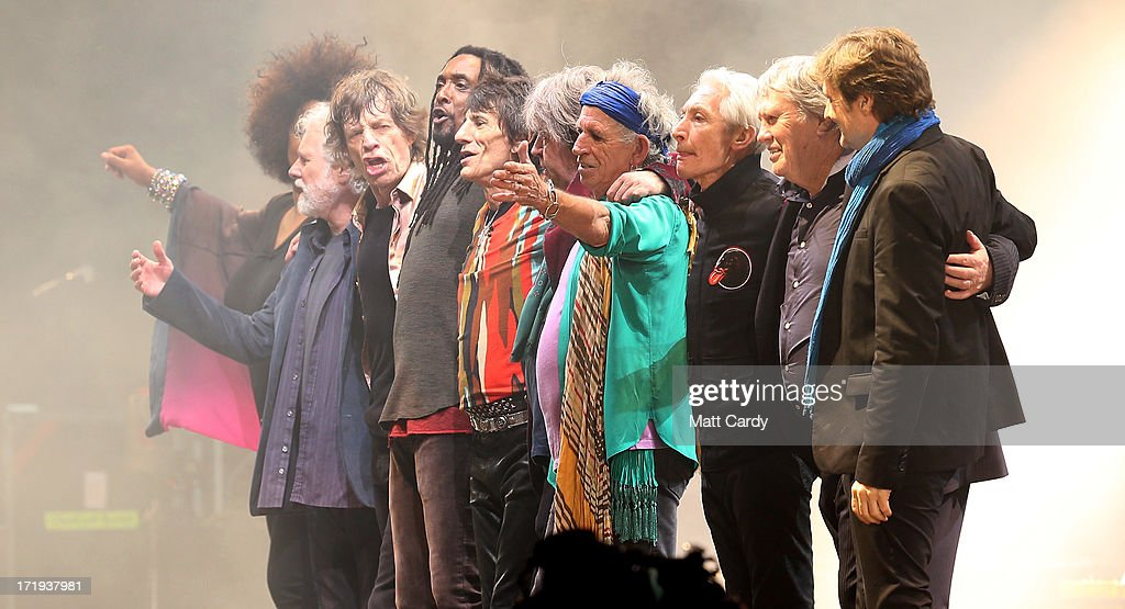 The Rolling Stones and guests perform on the Pyramid Stage at Glastonbury Festival 2013 on June 29, 2013 in Glastonbury, England. at the Glastonbury Festival of Contemporary Performing Arts site at Worthy Farm, Pilton on June 29, 2013 near Glastonbury, England. The wholesale market caters for traders throughout the Festival who are estimated to provide 3 million meals for festival-goers, crew and performers. Gates opened on Wednesday at the Somerset diary farm that will be playing host to one of the largest music festivals in the world and this year features headline acts Artic Monkeys, Mumford and Sons and the Rolling Stones. Tickets to the event which is now in its 43rd year sold out in minutes and that was before any of the headline acts had been confirmed. The festival, which started in 1970 when several hundred hippies paid 1 GBP to watch Marc Bolan, now attracts more than 175,000 people over five days.