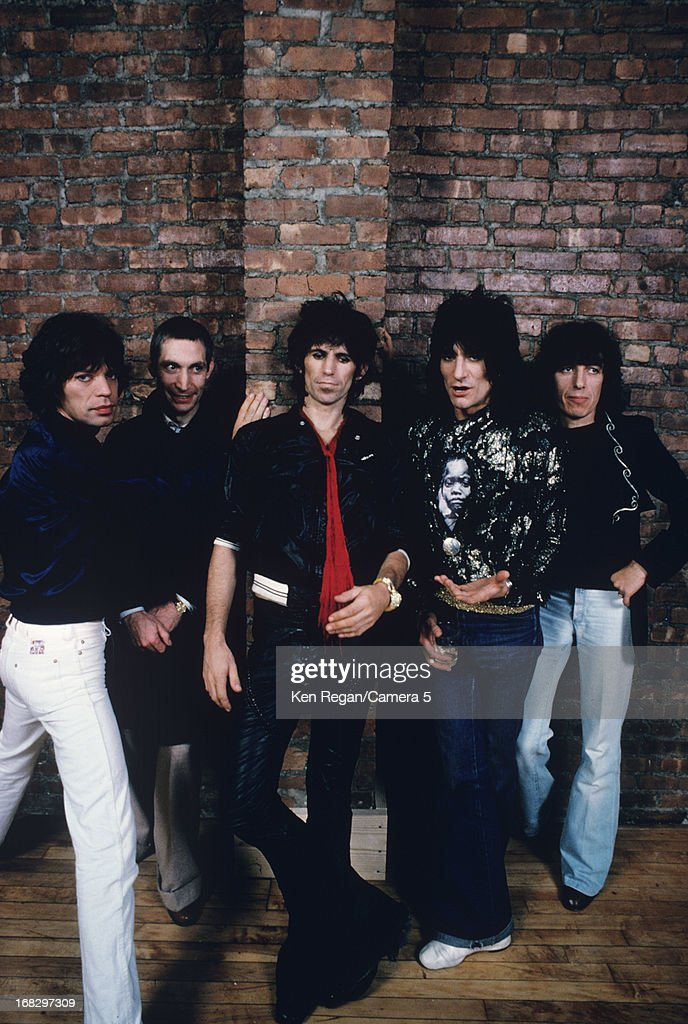 Mick Jagger, Charlie Watts, Keith Richards, Ronnie Wood and Bill Wyman) are photographed at the Camera 5 studios in 1977 in New York City.