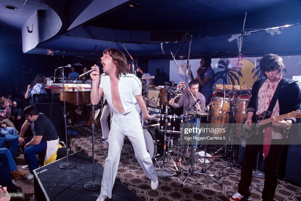 The Rolling Stones are photographed on stage at El Mocambo Tavern in March 1977 in Toronto, Ontario.