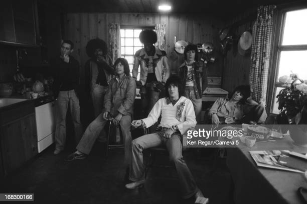 The Rolling Stones are photographed with session musicians at artist Andy Warhol's home in 1975 in Montauk New York CREDIT MUST READ Ken Regan/Camera...
