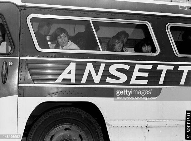 The Rolling Stones arrive at Mascot Airport after playing in Brisbane 27 January 1965SMH Picture by Trevor Dallen