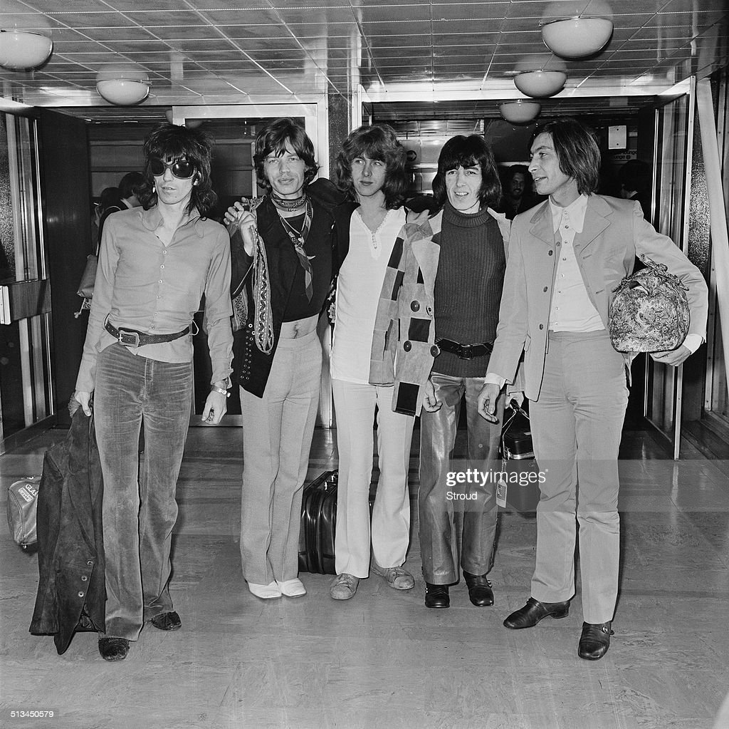 The Rolling Stones at London Airport 17th October 1969 LR Keith Richards Mick Jagger Mick Taylor Bill Wyman and Charlie Watts