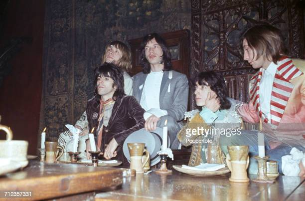The Rolling Stones at the Kensington Gore Hotel where they staged a mockmedieval banquet for the launch of their new album 'Beggars Banquet' London...