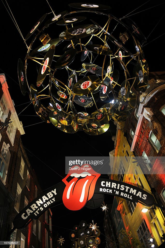 The Rolling Stones Christmas decorations outside the opening party for the Rolling Stones pop up shop on Caranaby Street on November 27, 2012 in London, England.