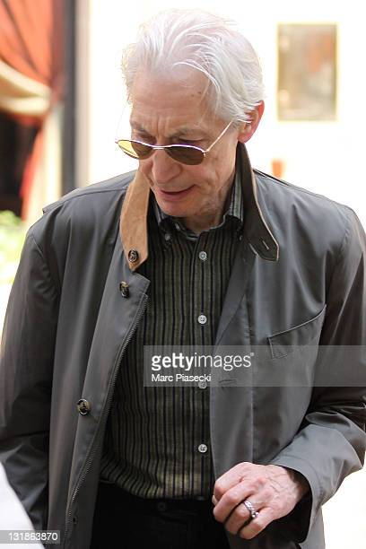 The Rolling Stones' drummer Charlie Watts is spotted leaving the 'Plaza Athenee' on April 30 2011 in Paris France