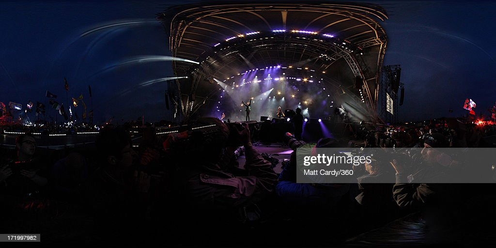 The Rolling Stones headline the Pyramid Stage at the Glastonbury Festival of Contemporary Performing Arts at Worthy Farm, Pilton on June 29, 2013 in Glastonbury, England.