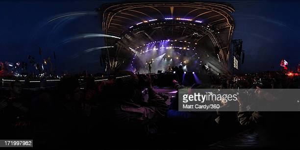 The Rolling Stones headline the Pyramid Stage at the Glastonbury Festival of Contemporary Performing Arts at Worthy Farm Pilton on June 29 2013 in...