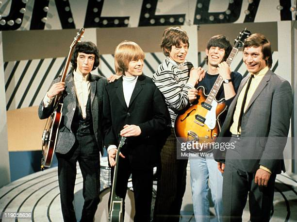 The Rolling Stones in a television studio Bill Wyman Brian Jones Mick Jagger Keith Richards and Charlie Watts 1965