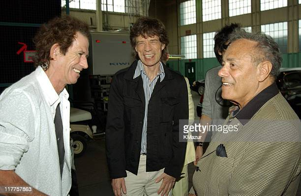The Rolling Stones' Keith Richards and Mick Jagger with the Mayor of Toronto Mel Lastman