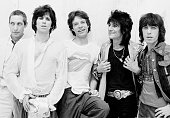 The Rolling Stones on the set of a video shoot in New York May 1978 Left to right drummer Charlie Watts guitarist Keith Richards singer Mick Jagger...