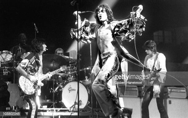 The Rolling Stones perform live on stage at the Forest National in Brussels Belgium on May 06 1976 as part of their European tour LR Ron Wood Charlie...