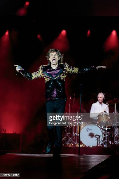 The Rolling Stones perform on stage during Lucca Summer Festival 2017 on September 23 2017 in Lucca Italy