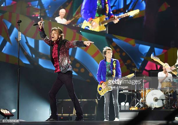 The Rolling Stones perform on stage during The Rolling Stones concert at Ciudad Deportiva on March 25 2016 in Havana Cuba