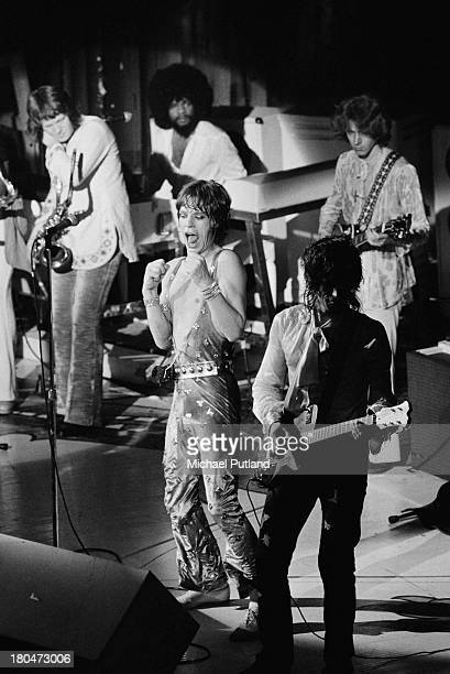 The Rolling Stones performing at one of their two Apollo Theatre shows in Glasgow 16th17th September 1973 Clockwise from left saxophonist Bobby Keys...