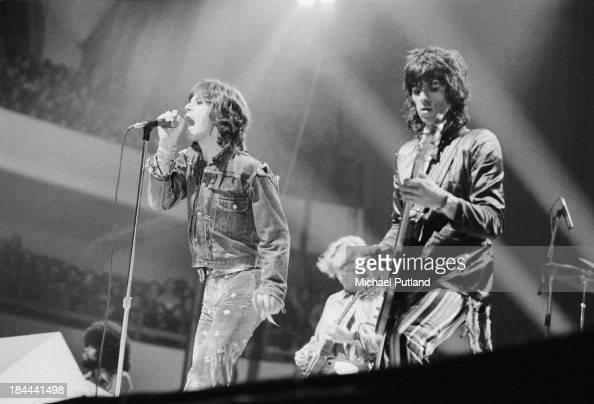 The Rolling Stones performing at the Festhalle Frankfurt Germany 30th September 1973 Left to right Mick Jagger Mick Taylor and Keith Richards