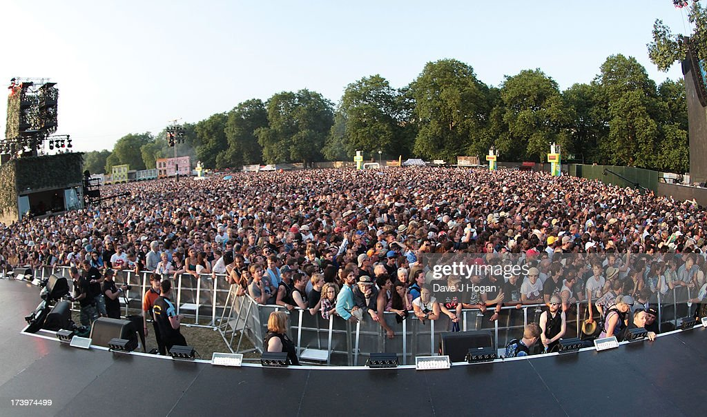 The Rolling Stones performing live at Hyde Park on July 13, 2013 in London, England.