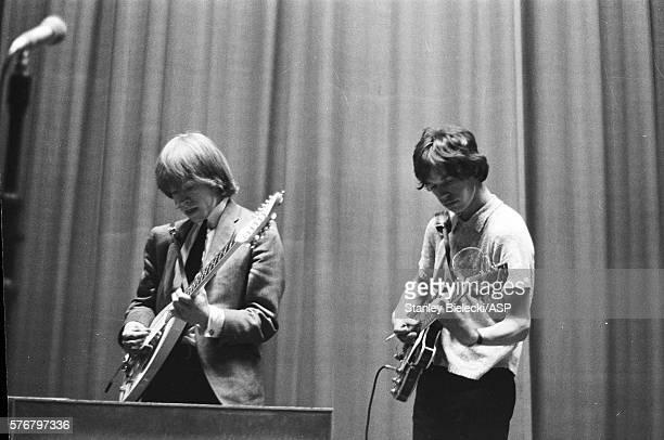 The Rolling Stones rehearsing for a radio session United Kingdom circa 1965 LR Brian Jones Mick Jagger