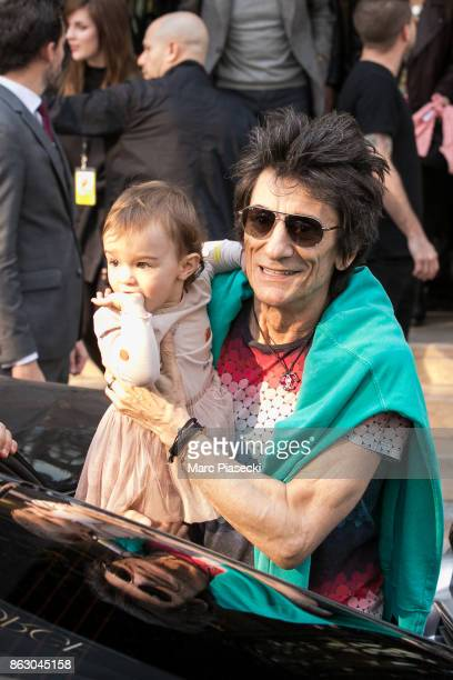 'The Rolling Stones' rocker Ronnie Wood and his daughter Gracie Jane Wood are seen leaving the 'Four Seasons George V' hotel ahead the first Rolling...