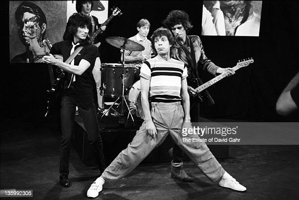 The Rolling Stones Ron Wood Bill Wyman Charlie Watts Mick Jagger and Keith Richards during a rehearsal at SIR Studios on June 30 1981 in New York...
