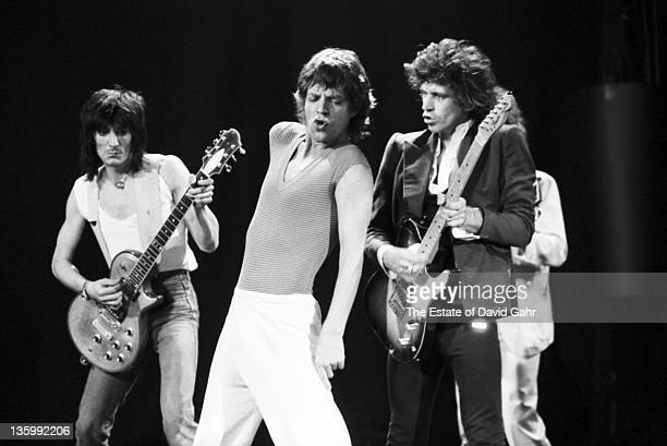 The Rolling Stones Ron Wood Mick Jagger Keith Richards and Charlie watts during a rehearsal at SIR Studios on June 30 1981 in New York City New York