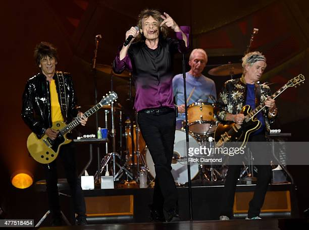 The Rolling Stones Ronnie Wood Mick Jagger Charlie Watts and Keith Richards perform during The Rolling Stones North American 'ZIP CODE' Tour...