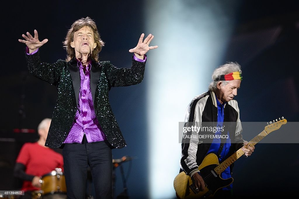 The Rolling Stones' singer Mick Jagger (L) and guitarist Keith Richards (R) perform during the TW Classic music festival in Werchter, on June 28, 2014. AFP PHOTO / BELGA PHOTO / LAURIE DIEFFEMBACQ