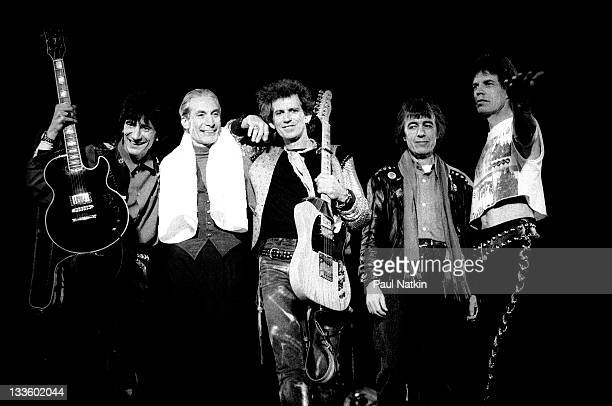 The Rolling Stones wave from the stage following a performance during their 'Steel Wheels' tour late 1989 Pictured are from left Ron Wood Charlie...